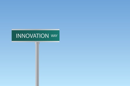 Image of a sign to Innovation Way against a blue sky background. Illustration