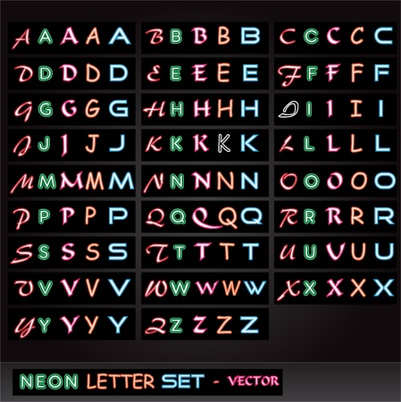 neon sign: Image of colorful neon letters on a black background. Illustration