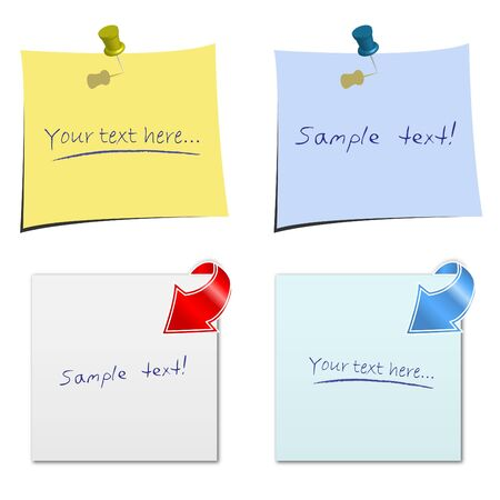 Image of various colorful notes with sample text isolated on a white background. Stock Vector - 12487159