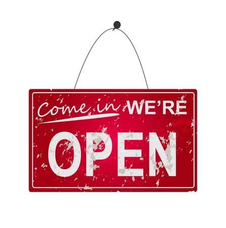 """Afbeelding van een opknoping """"Open""""-teken op een witte achtergrond. Stockfoto - 12487177"""