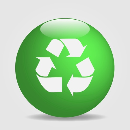 green environment: Image of a globe with the recycle symbol isolated on a white background. Illustration