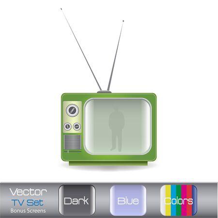 白い背景に分離されたカラフルなビンテージ テレビのイメージ。