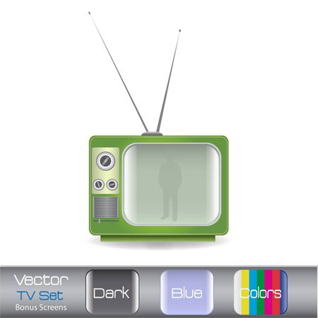 vintage television: Image of a colorful vintage television isolated on a white background. Illustration