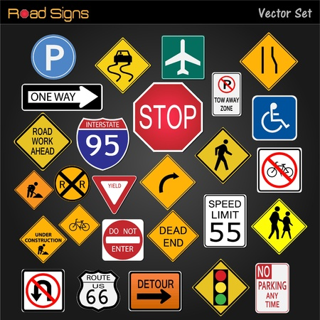Image of various road signs on a dark gray background. Stock Vector - 12485485