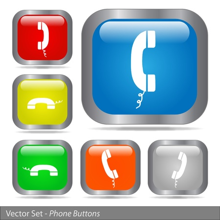 Image of various colorful phone buttons isolated on a white background. Stock Vector - 12485447