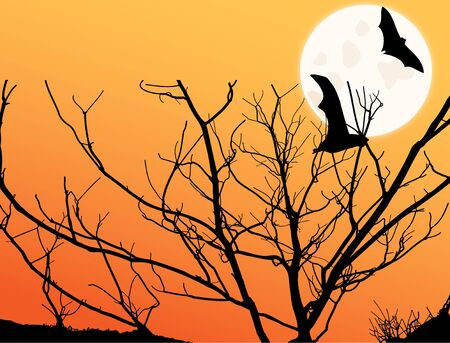 Image of a twilight scene with moon and tree and bat silhouettes.