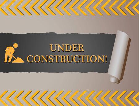 """Immagine di un segno """"Under Construction"""" dietro carta strappata. Archivio Fotografico - 12485393"""