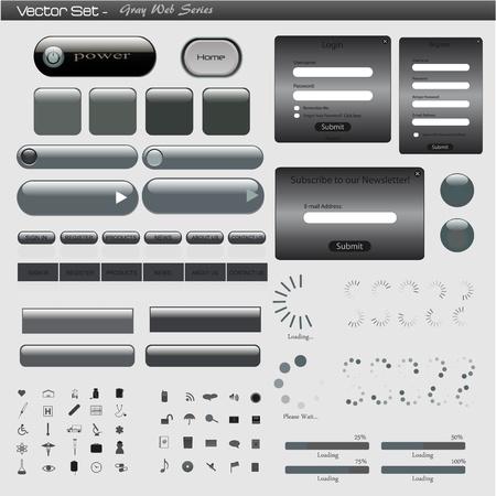 Beeld van een grijze web template tegen een lichte achtergrond.