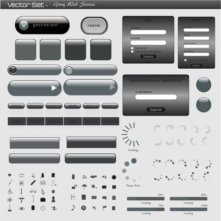 Image of a gray web template against a light background. Vector