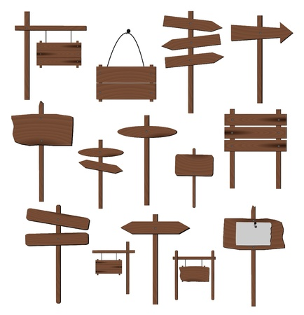 wooden post: Imagen de varios carteles de madera aisladas sobre un fondo blanco. Vectores