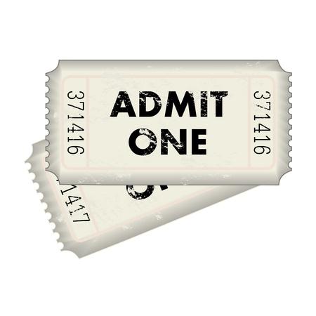 Beeld van een grijze Admit One ticket geïsoleerd op een witte achtergrond. Stockfoto - 12890725