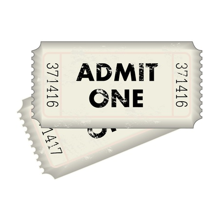 Image of a gray Admit One ticket isolated on a white background. Illustration
