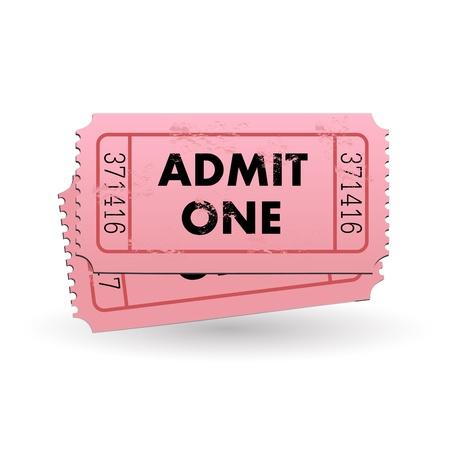 Afbeelding van een roze Admit One ticket geïsoleerd op een witte achtergrond. Stockfoto - 12890722