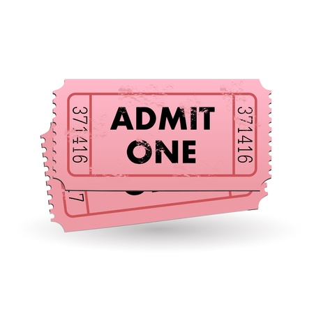 one to one: Image of a pink Admit One ticket isolated on a white background.