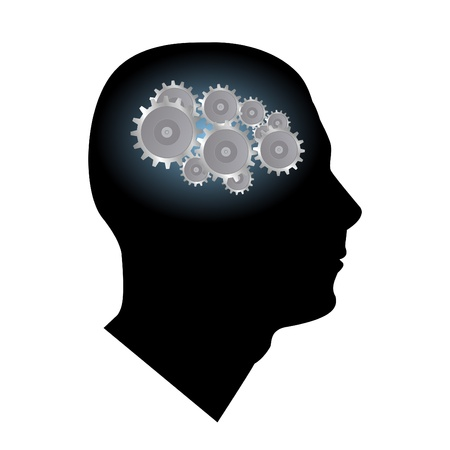 brain illustration: Image of gears inside of a mans head isolated on a white background.