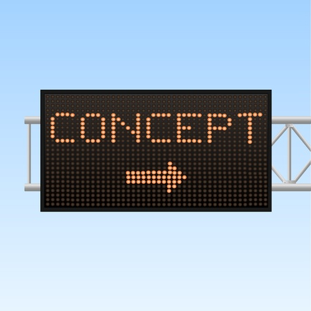 highway sign: Image of a Concept electronic highway sign against a blue sky background. Illustration