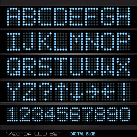 display type: Image of a colorful, blue digital scoreboard with alphabet and numbers.