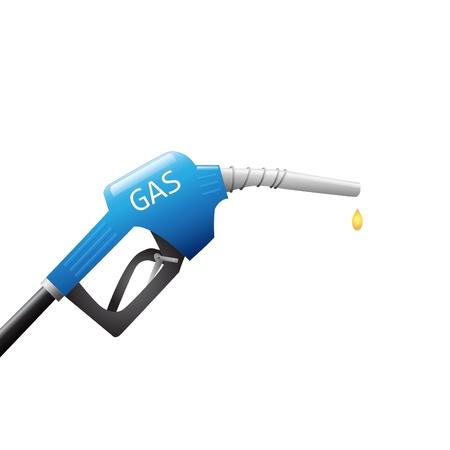 Afbeelding van een benzinepomp en druppel brandstof die op een witte achtergrond. Stock Illustratie