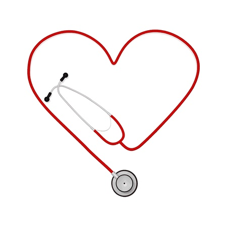 heart disease: Image of a stethoscope in the shape of a heart isolated on a white background