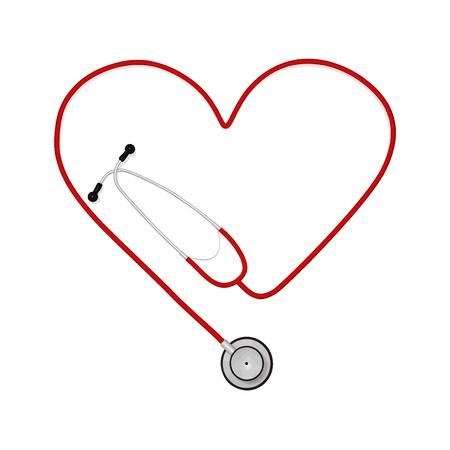 nursing treatment: Imagen de un estetoscopio en la forma de un coraz�n aislado en un fondo blanco Vectores