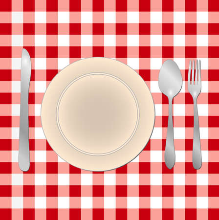 checker plate: Image of a meal table setting on a red checkered background  Illustration