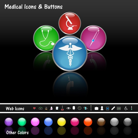 web icons: Image of various colorful web buttons and medical icons