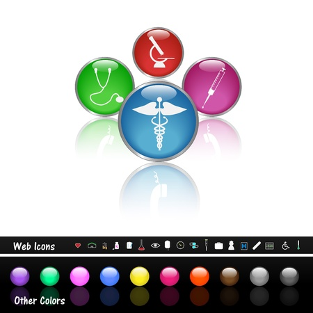 Image of various colorful medical web buttons  Stock Vector - 12890726
