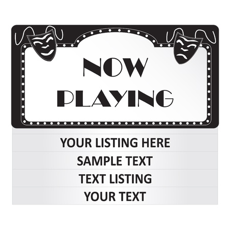 Image of a  Now Playing  cinema sign isolated on a white background
