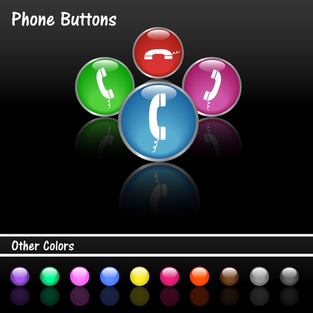 Image of various colorful phone web buttons on a black background Stock Vector - 12890727