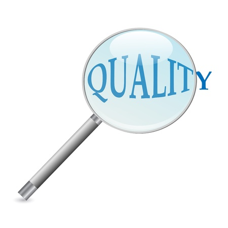 Image of a magnifying glass focusing on the word  Quality  isolated on a white background