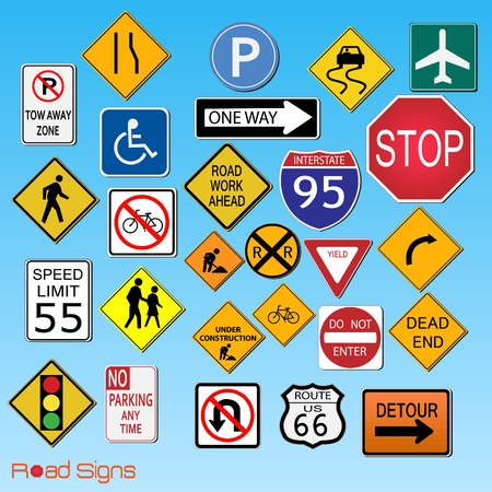 Image of many road signs on a blue sky background