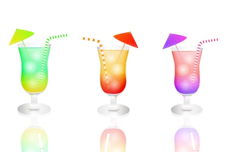 alcoholic drink: Image of colorful tropical drinks isolated on a white background  Illustration