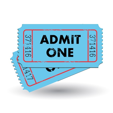 Image of a colorful, vintage admit one ticket isolated on a white background  Ilustração