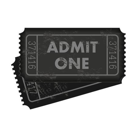 Afbeelding van donkergrijs toegangskaarten geïsoleerd op een witte achtergrond.
