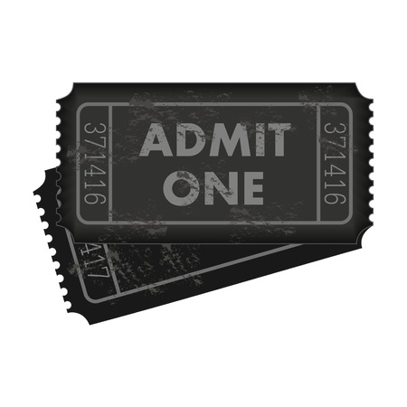 admit one: Image of dark gray admission tickets isolated on a white background. Illustration