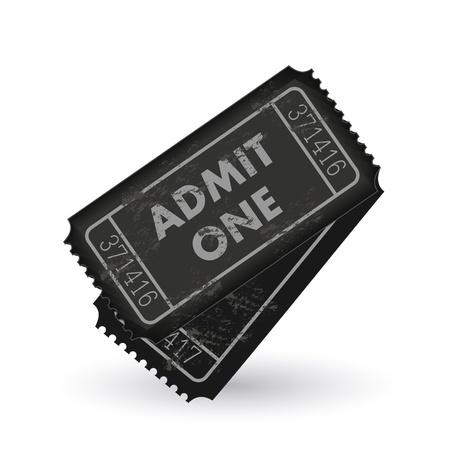 Afbeelding van donkergrijs toegeven een tickets geïsoleerd op een witte achtergrond.