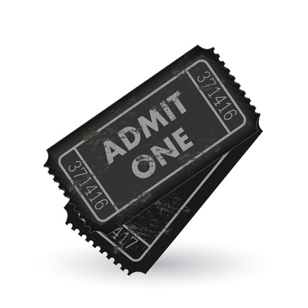 Image of dark gray admit one tickets isolated on a white background. Illustration