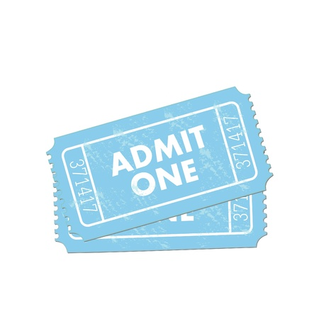 Image of a colorful, blue admit one ticket isolated on a white background. Vector