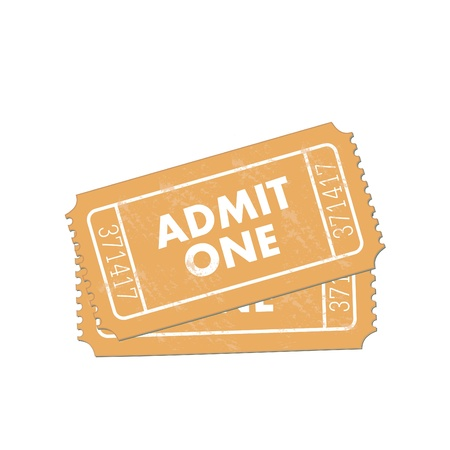 Image of admit one tickets isolated on a white background.