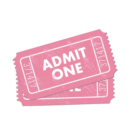 Image of pink Admit One tickets isolated on a white background.
