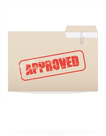 tampon approuv�: Image d'un dossier avec un timbre approuv� isol� sur un fond blanc.