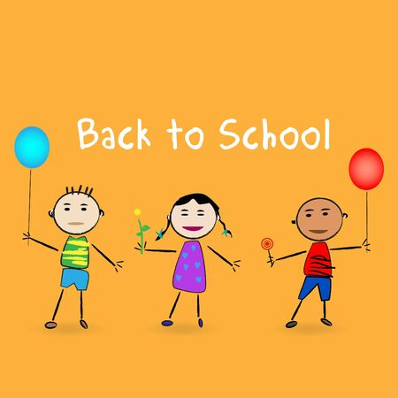 Image of a cartoon kids with the message Back to School. Vector
