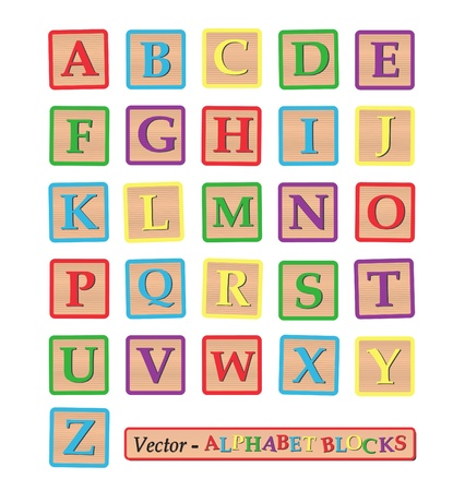 completed: Image of alphabet blocks isolated on a white background. Illustration