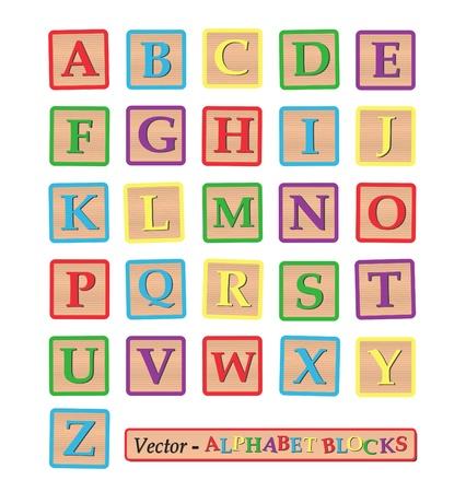 Imagen del alfabeto bloques aislados en un fondo blanco. Ilustración de vector