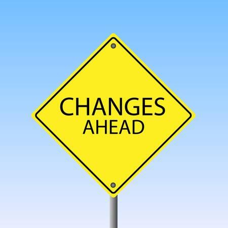 青い空を背景に、変更先の道路標識のイメージ。  イラスト・ベクター素材