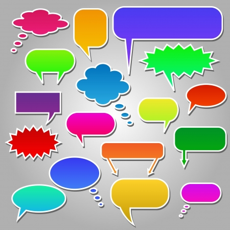 Image of colorful chat bubbles isolated on a gray background. Vector