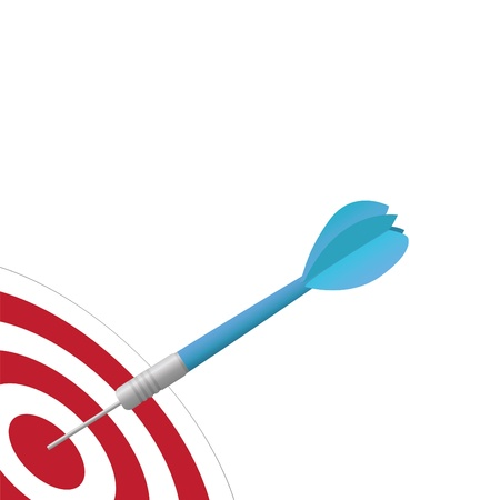 Image of a colorful, blue dart hitting a target isolated on a white background. Vector