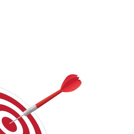 doelstelling: Afbeelding van een dart raken van een doel dat op een witte achtergrond.