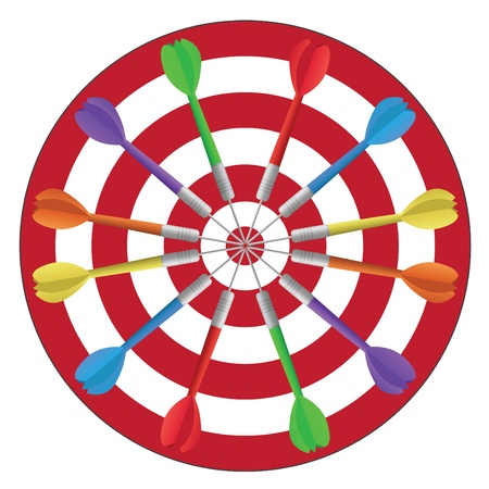 dart on target: Image of colorful darts in a circle isolated on a white background.