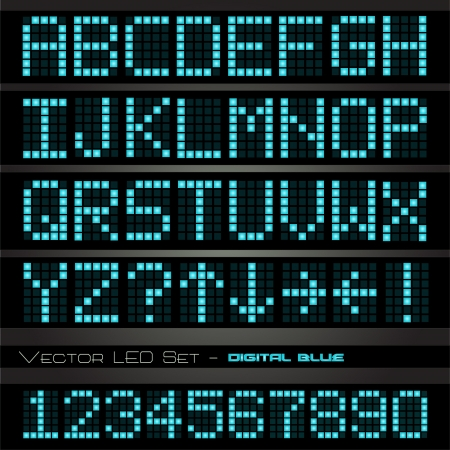 Image of a colorful, blue led font set on a dark background. Vector